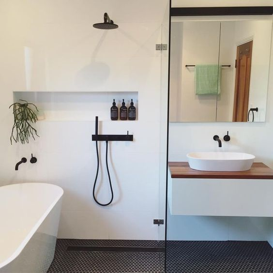 bathroom with matte black fixtures