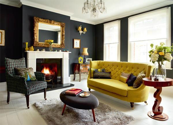black living room with yellow sofa