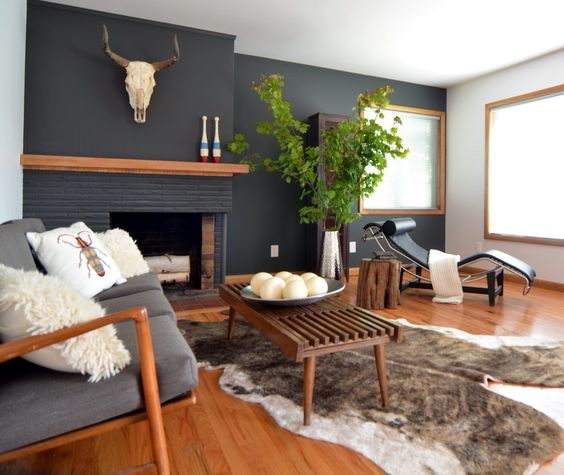 black living room with warm accents