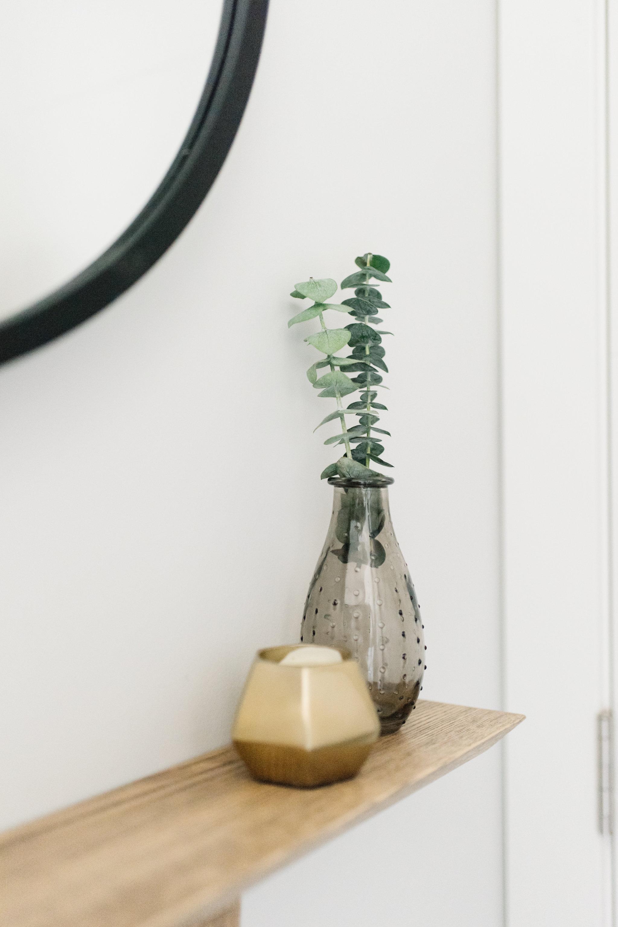 wooden narrow shelf walnut