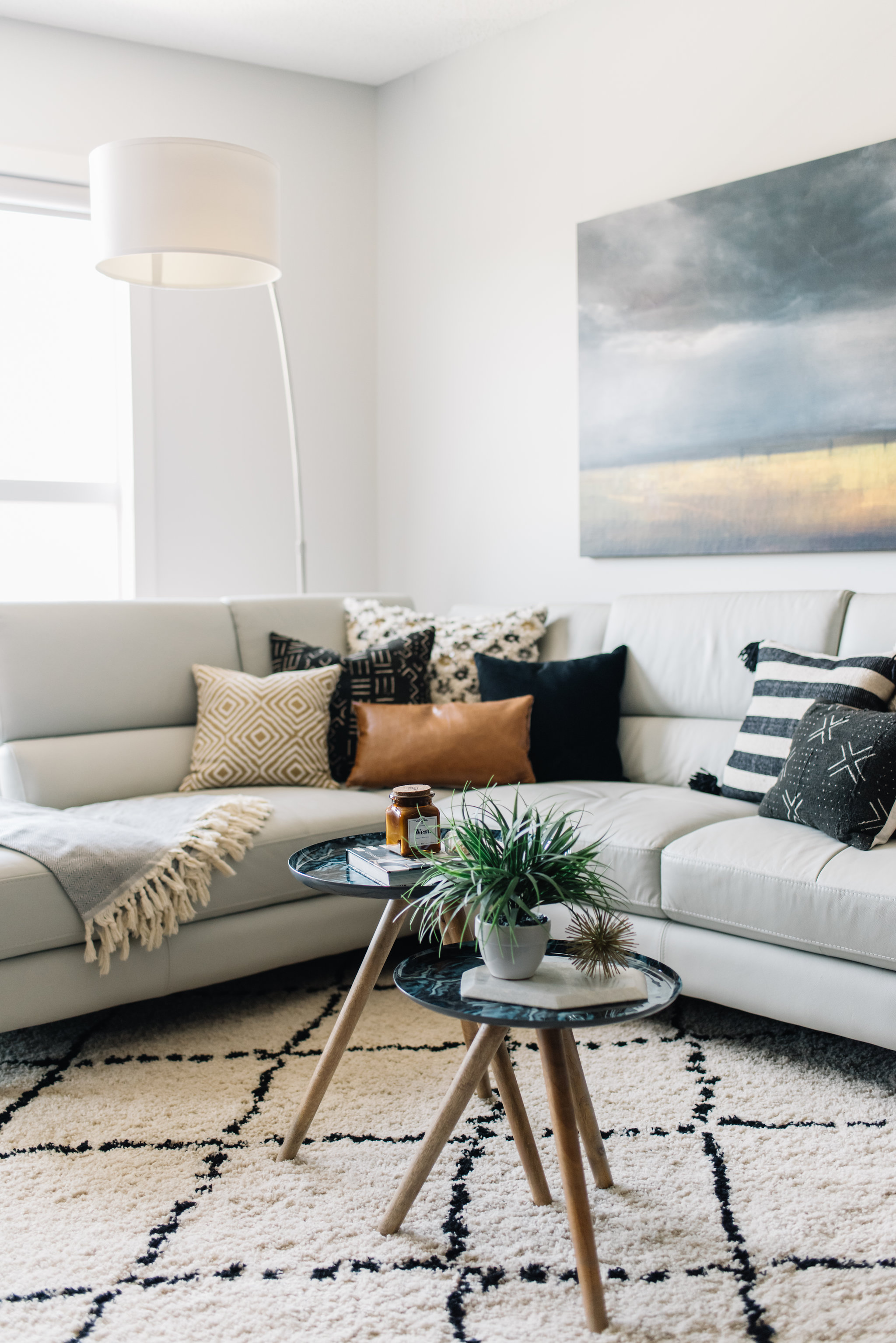 eclectic neutral living room