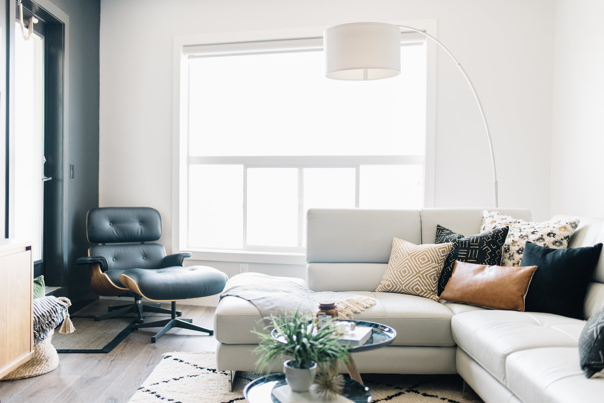 black living room with eames chair
