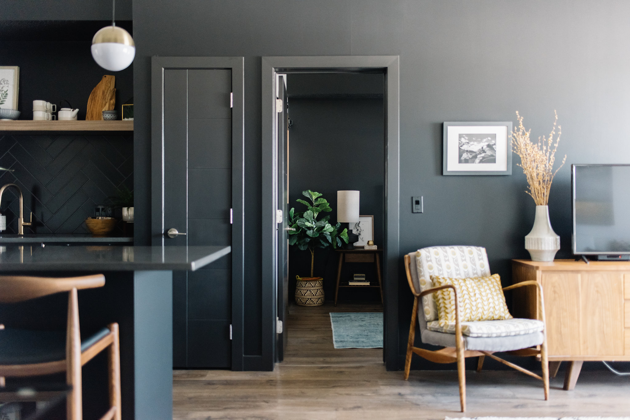 modern living room with black paint