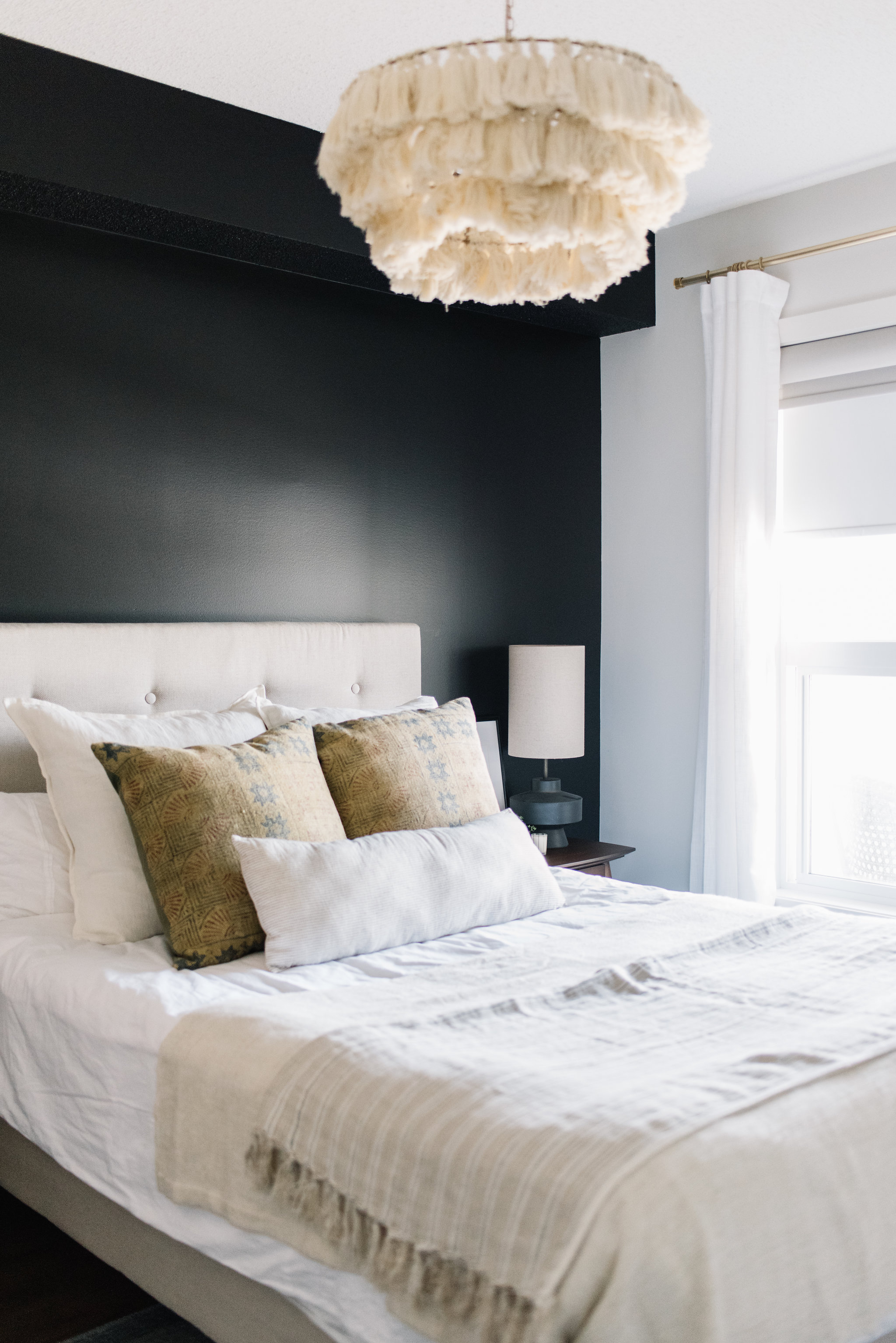 modern bedroom with black wall