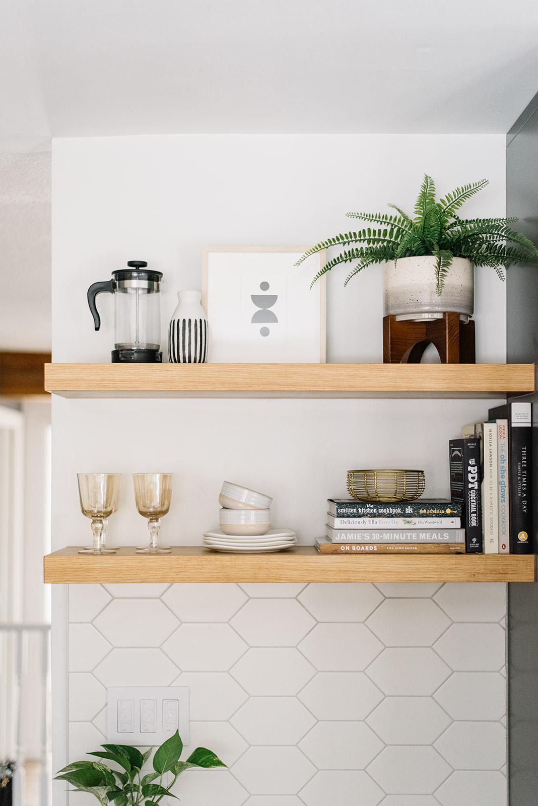 kitchen shelf styling