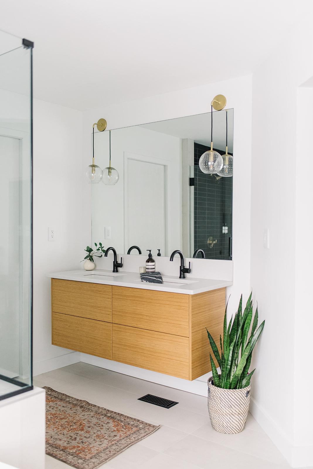 bathroom with floating vanity, oak