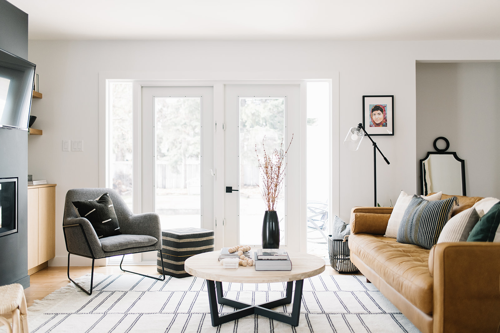 modern eclectic living room, edmonton interior designer