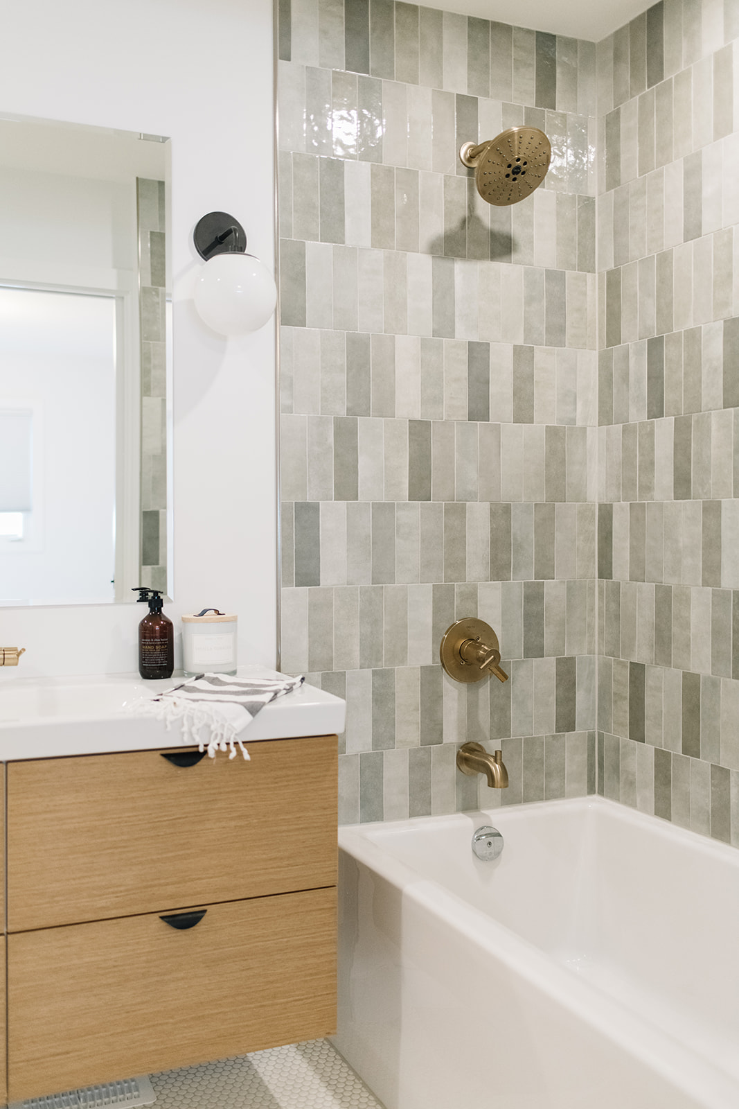 straight stacked grey subway tile in shower