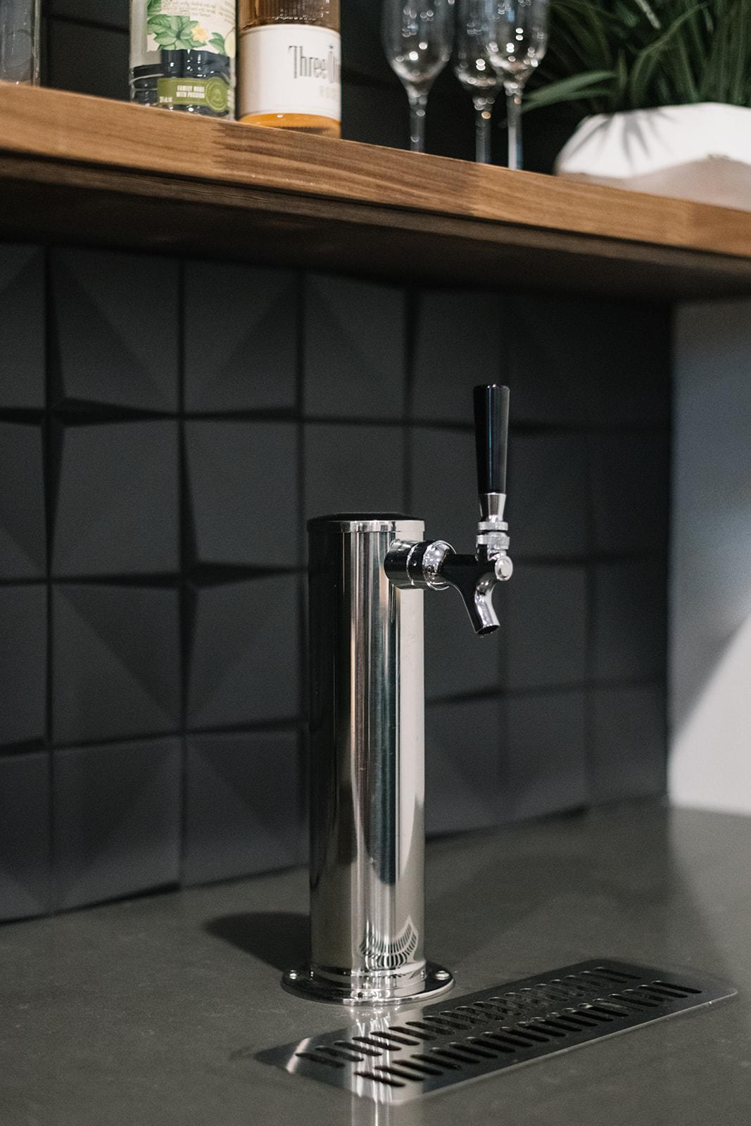 wet bar with built in keg fridge