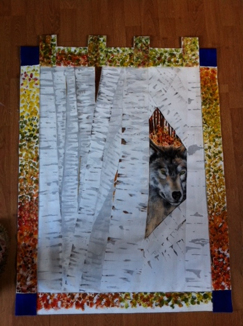 Wolf in Silver Birch Wood
