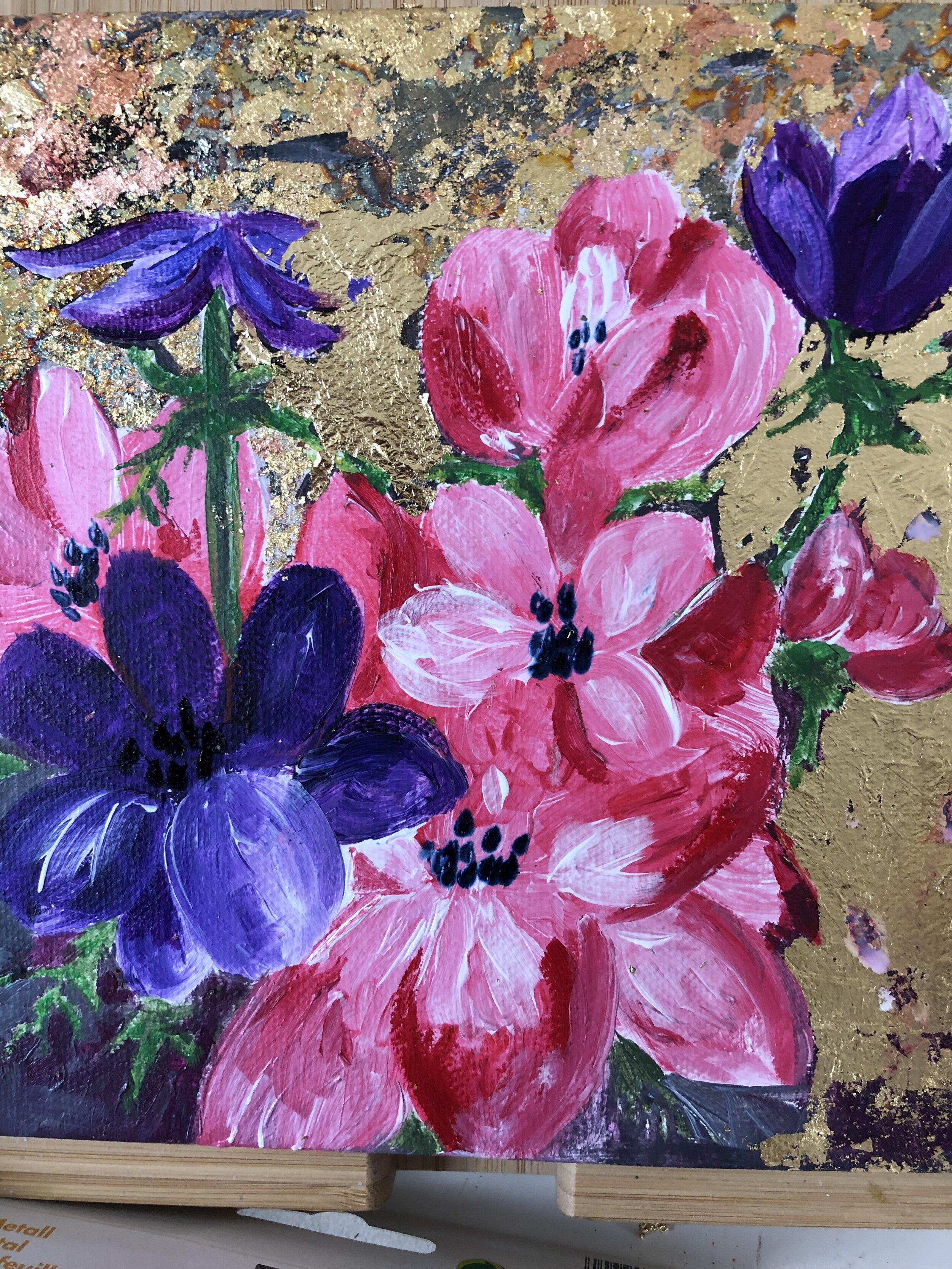 Anemone with Gold Leaf