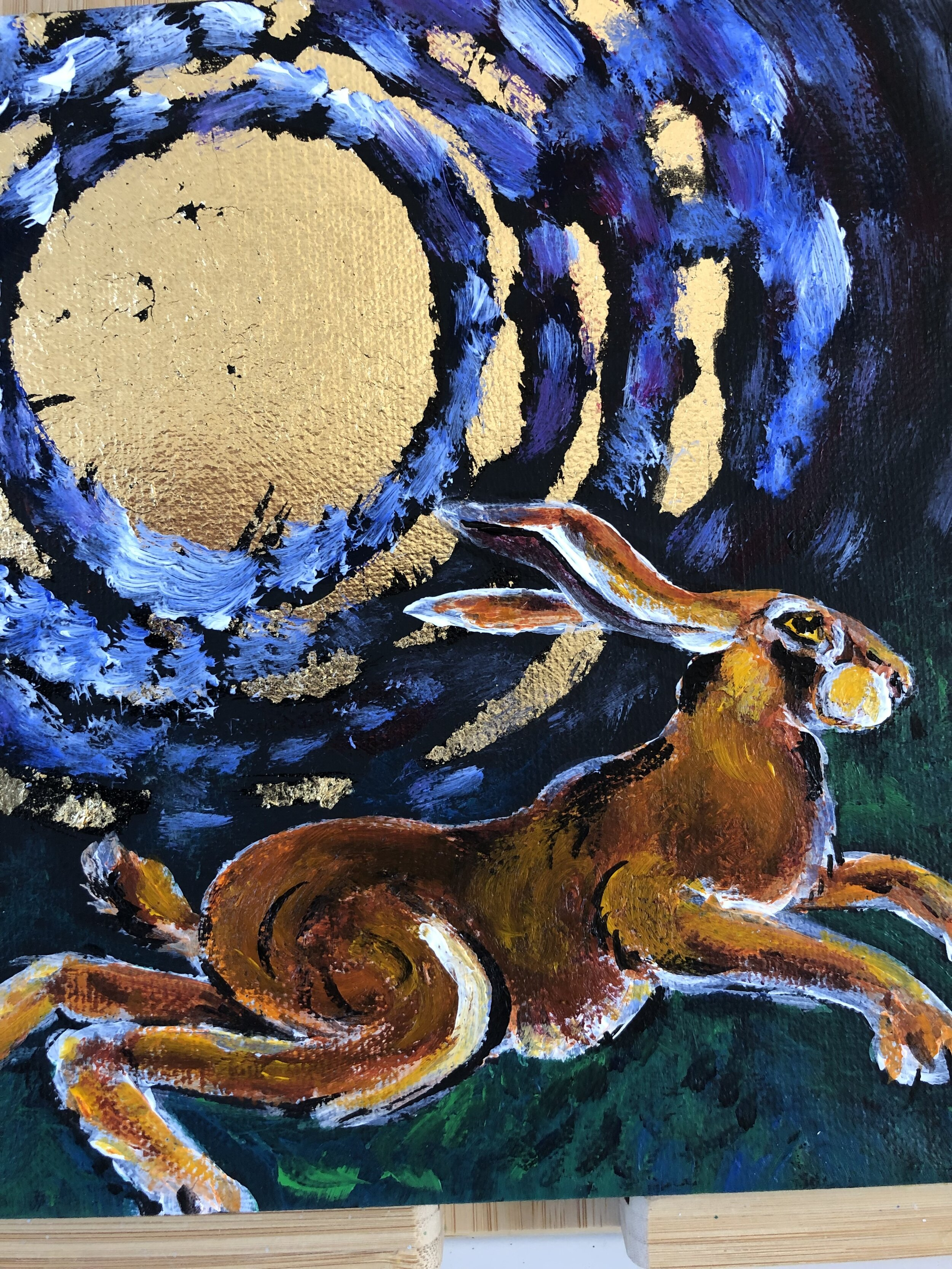 Night Hare with Gold Leaf