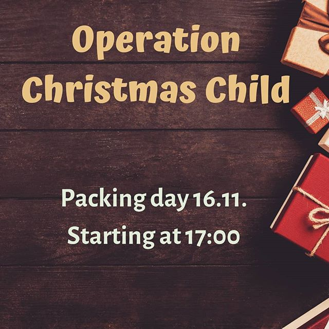 This year we will again take part in Operation Christmas Child. We'll have a packing/fellowship evening on 16.11. For more info on what to get and how to participate, contact us! You can also visit www.joulunlapsi.fi