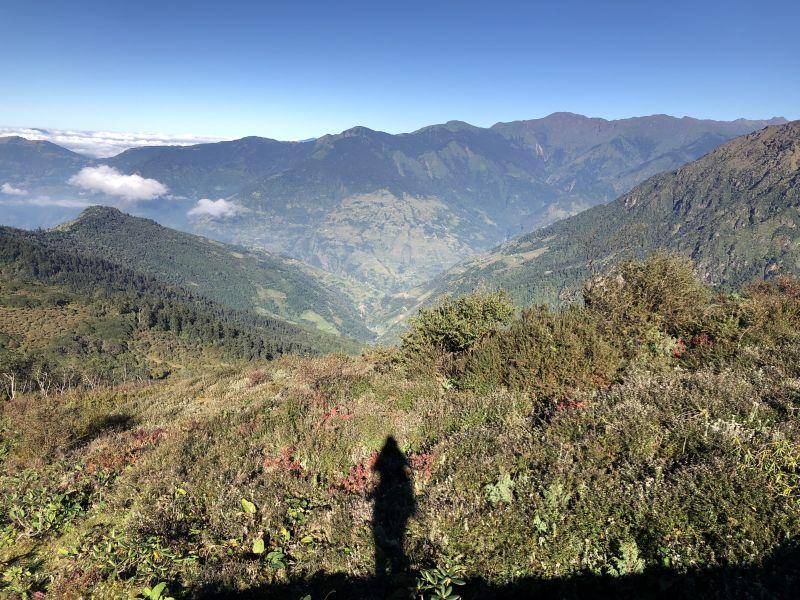 Morning shadow of me and my backpack, Lamjura La, Nepal.