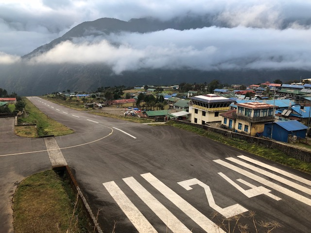 Lukla airport. Google it, but don't tell mom.