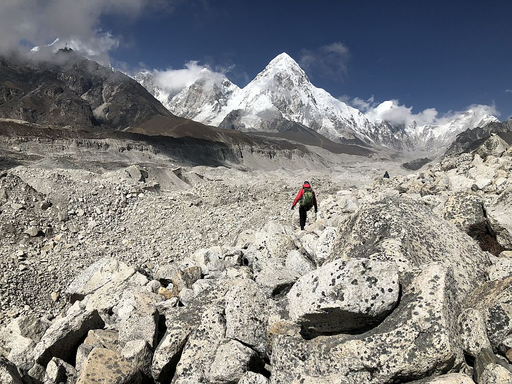 A friend we met on the trail, Abbey, picks her way across the glacier from Kongma La to Lobuche.