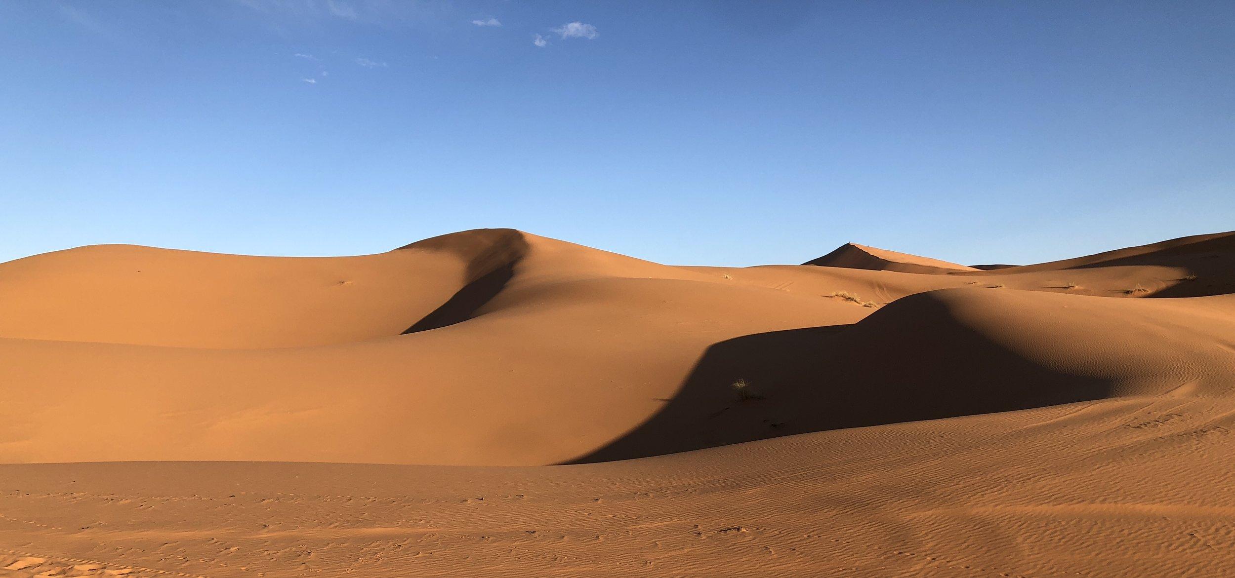 Sand dunes near Merzouga, Sahara Desert.