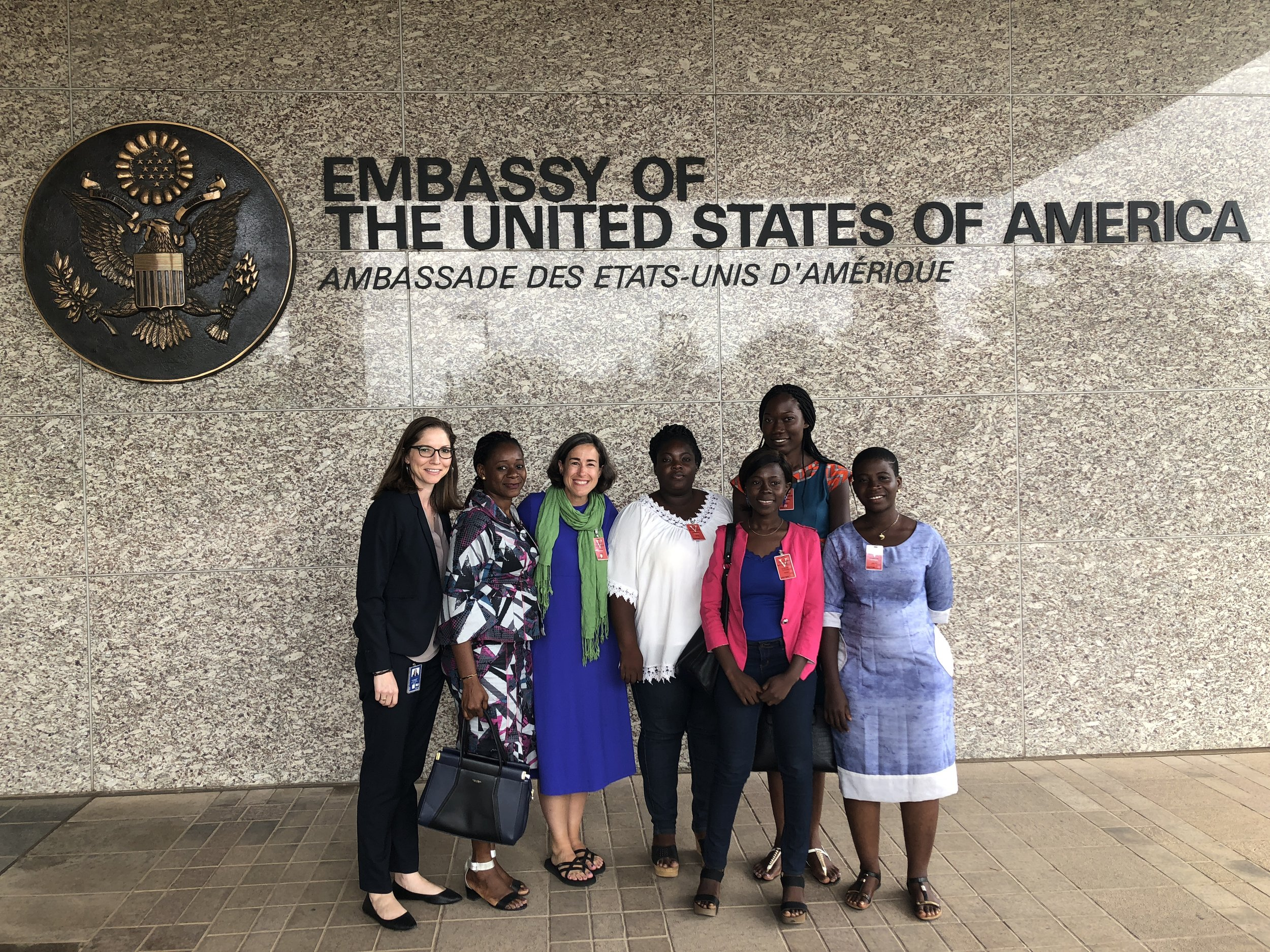 Five of Cotonou's journalists explained to two Americans what it's like to do their work in Benin, but still had energy to smile afterward.