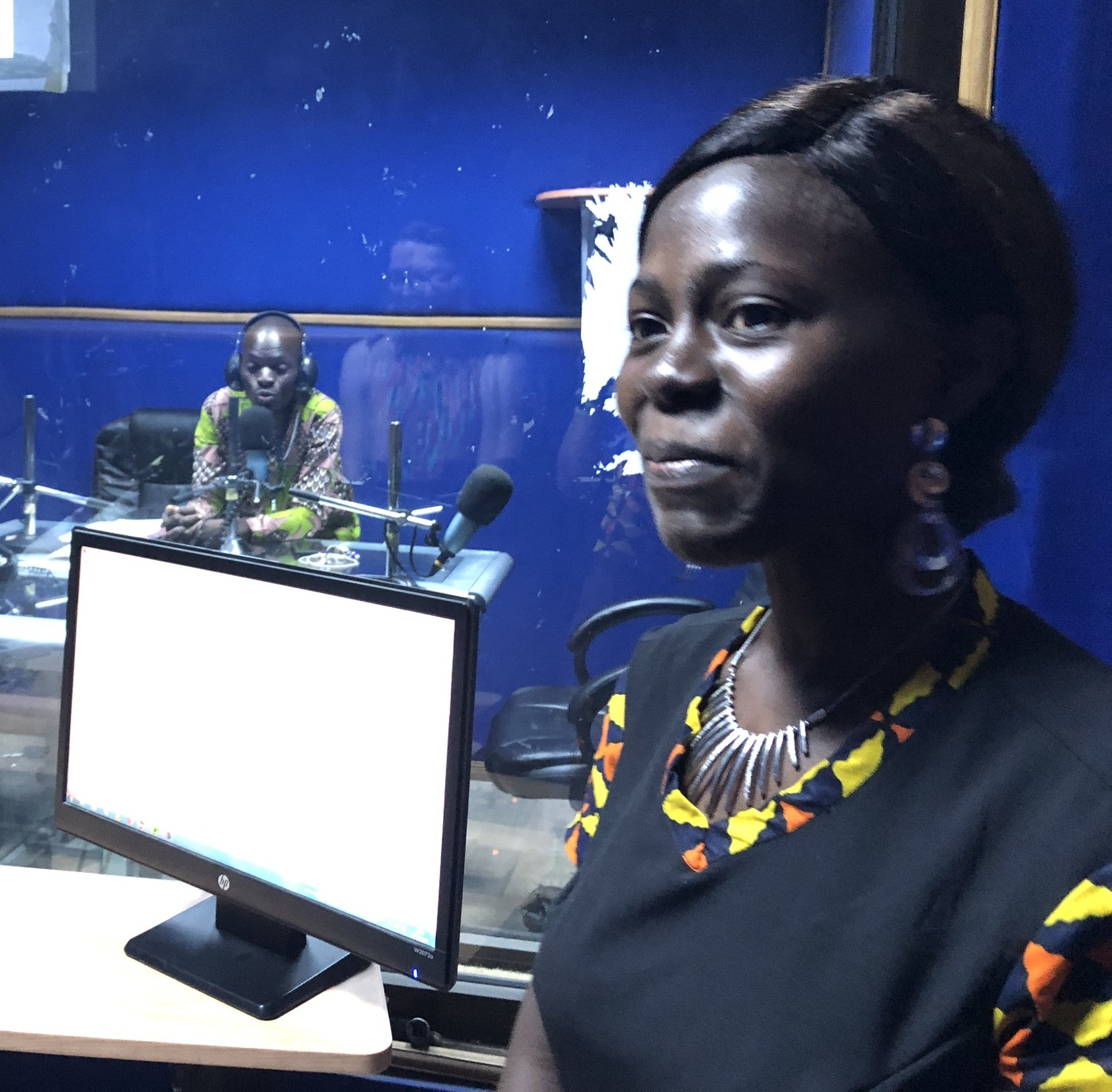 The managing editor of Ocean FM, in her radio station's control room.