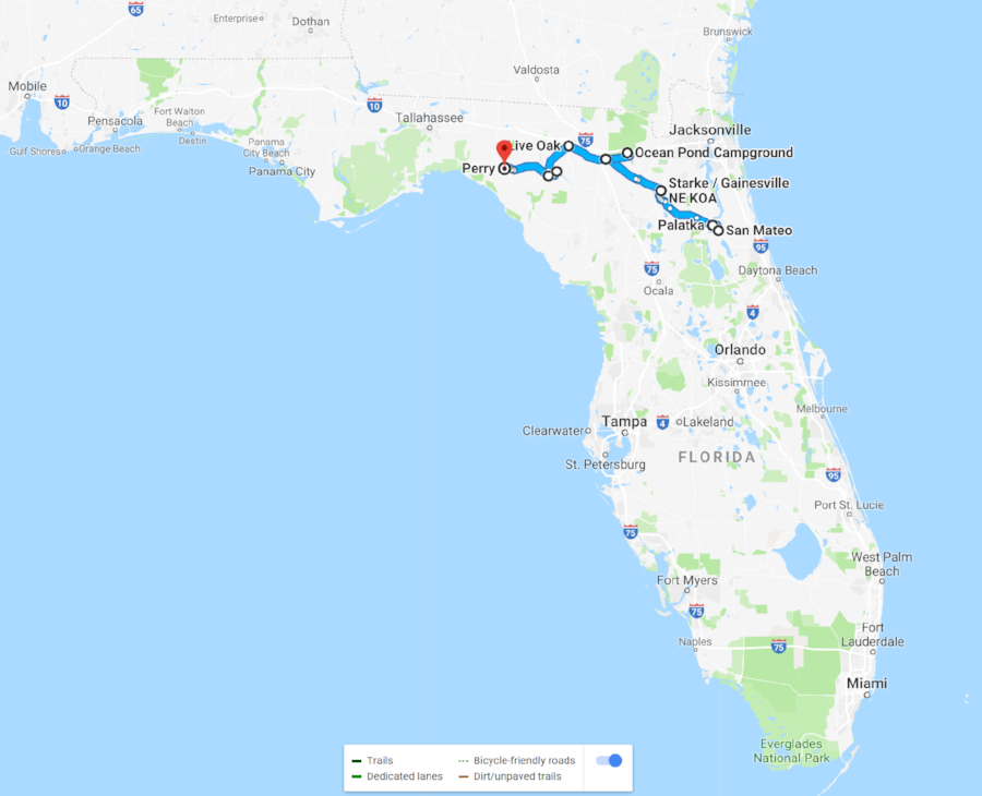 Approximate route of our bike trip across part of Florida.
