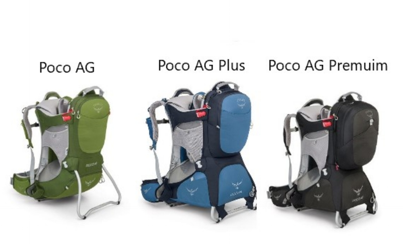 Pictures of the different Osprey Poco AG models and colours (picture from Osprey's website)