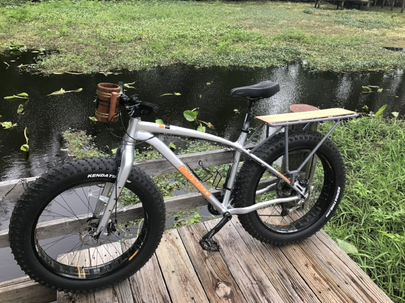 Tristan built a heavy duty rear rack for his bike from copper tubing. This bike can be a pack-horse.