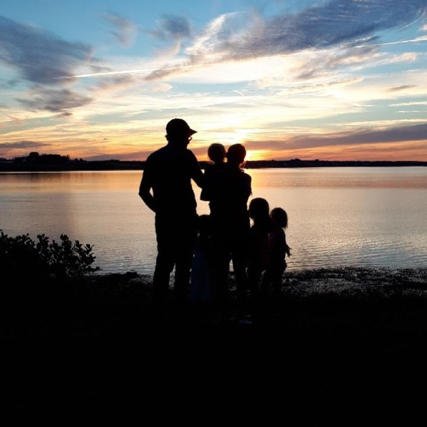 Enjoying a PEI sunset as a family.