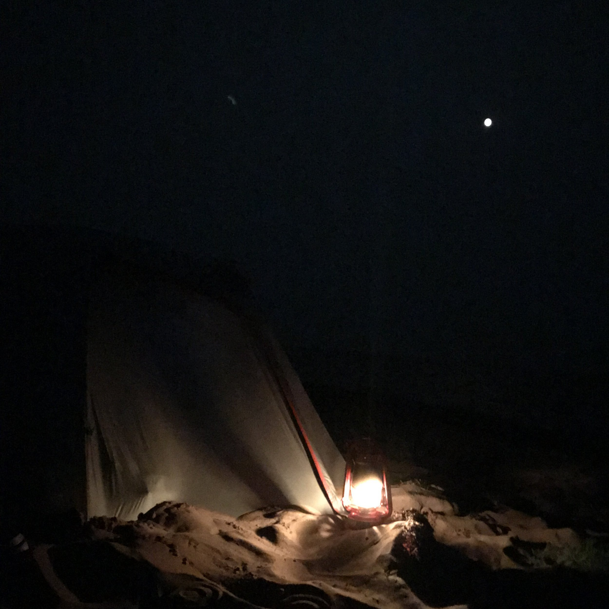 There is nothing quite as great as sleeping under a bright moon, being lulled to sleep by the wind, ocean, and sand hitting the sides of the tent.