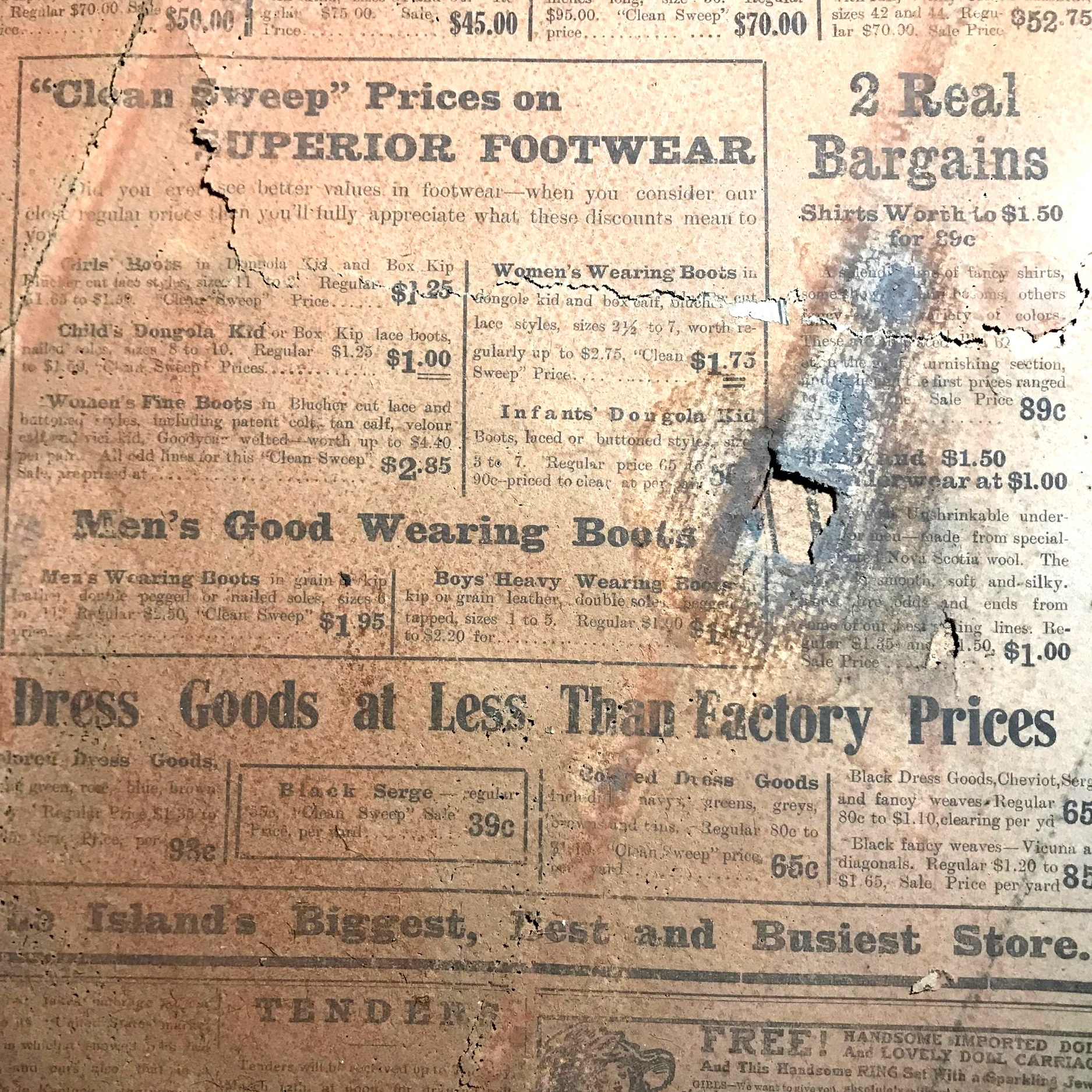 Some of the advertisements from a 1912 newspaper that Tristan found under floorboards.