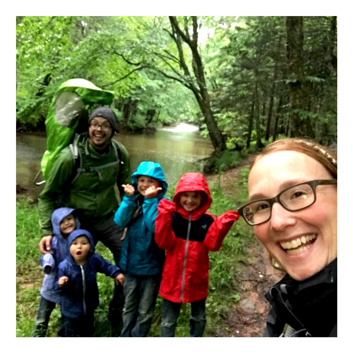 Our family enjoying a hike in the rain. Sometimes the challenging times can be the greatest memories!