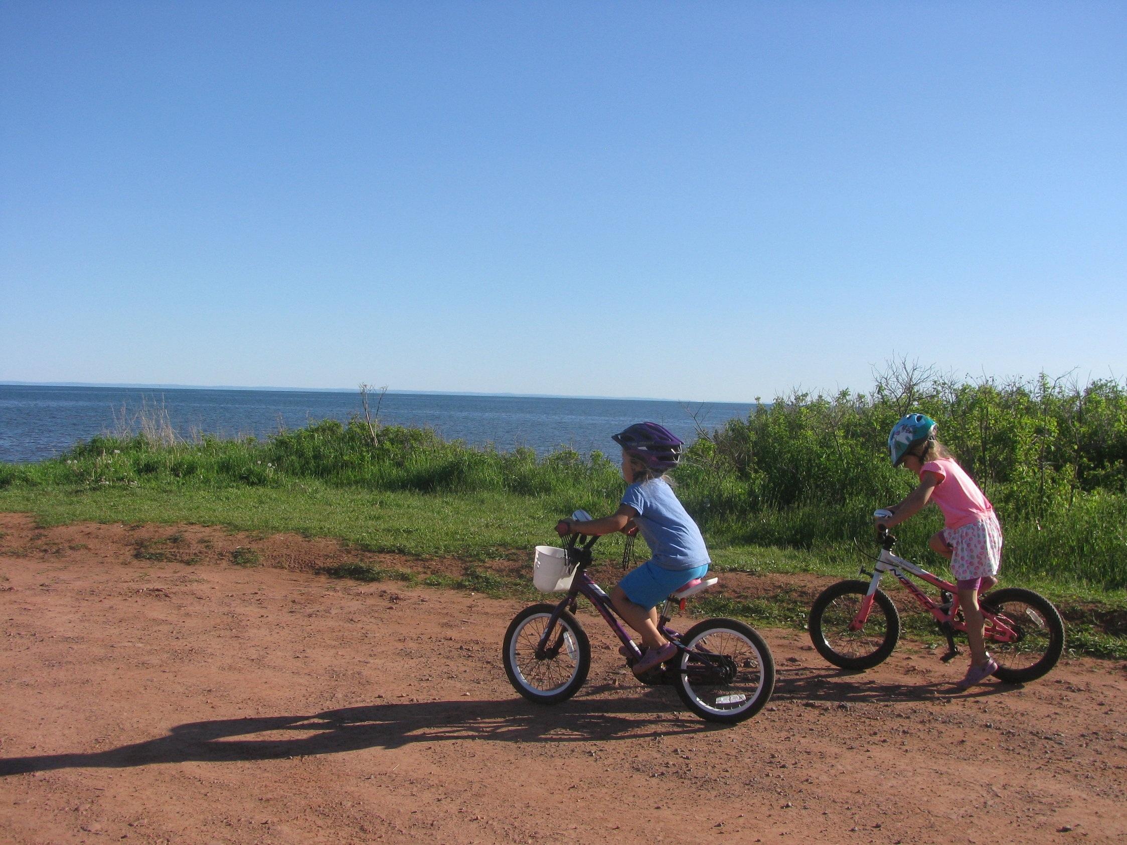 Biking to the beach.