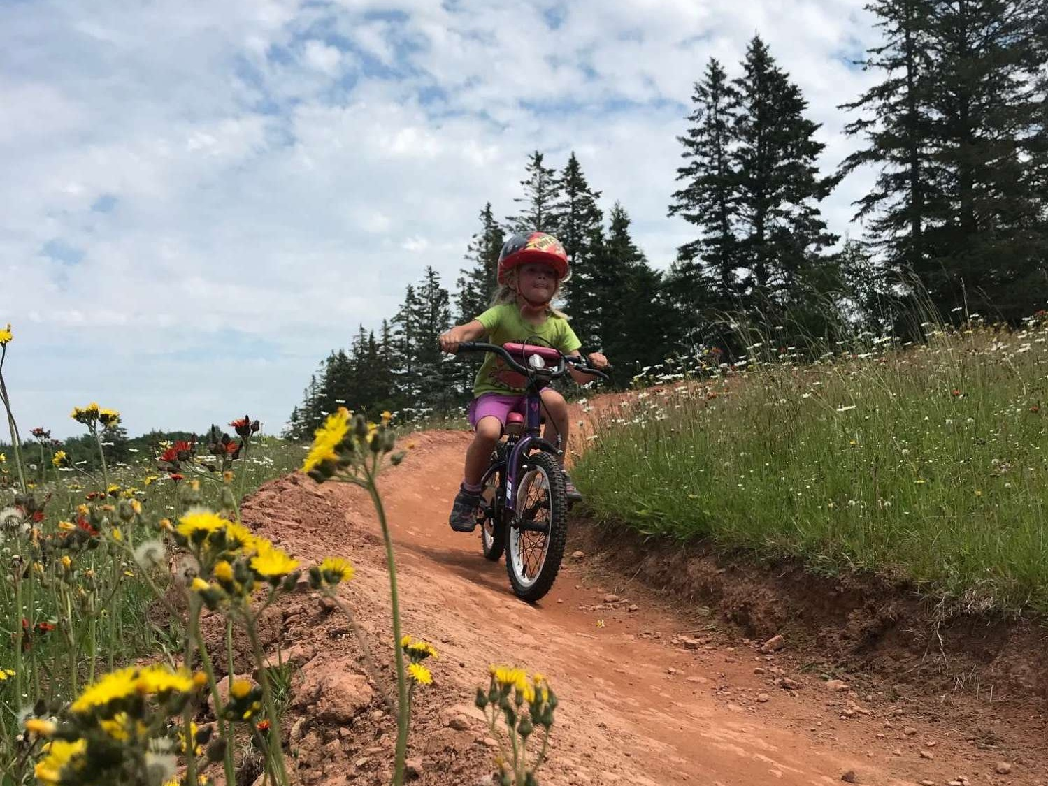I love seeing my kids conquer new challenges through biking! Here Sprout #3 is riding down a path with great concentration! :)