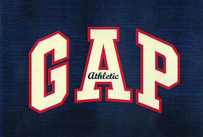 """The original GAP """"Athletic"""" logo."""