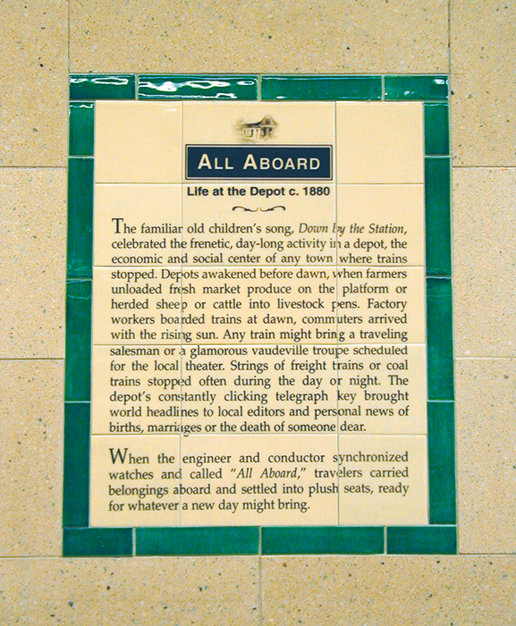 Our ceramic panels documents the history of train travel beginning in the late 1800's. - We tell the story of