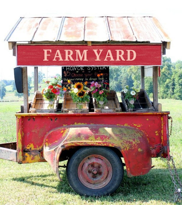 FARM YARD promoted its success with a road side stand to sell its veggies.