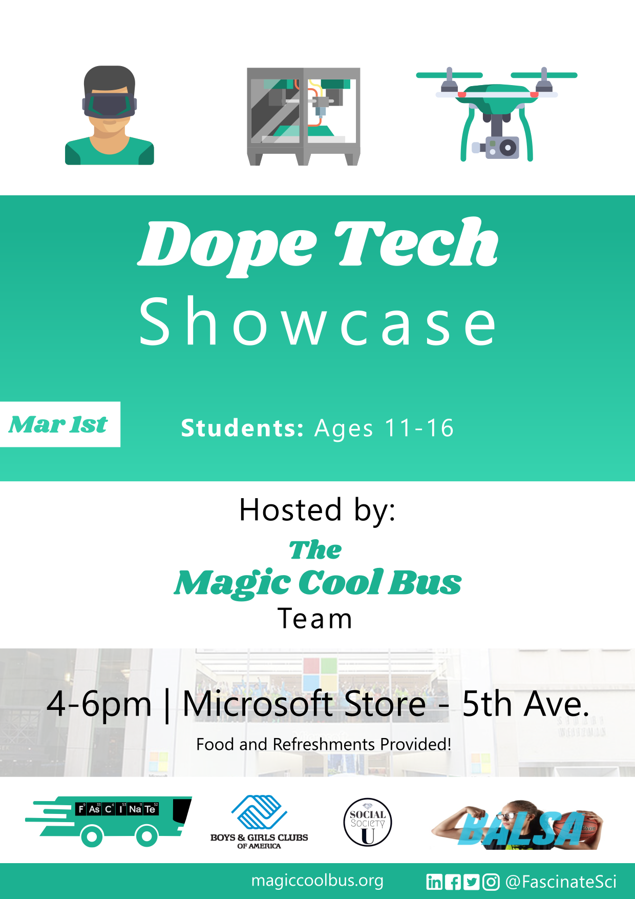 Our  Dope Tech Showcase  was a major success! Students from Great Oaks Charter School, the Boys and Girls Club, and the Harlem Children Zone all got to see the cool side of STEM at Microsoft's Flagship Store! Click to see more!