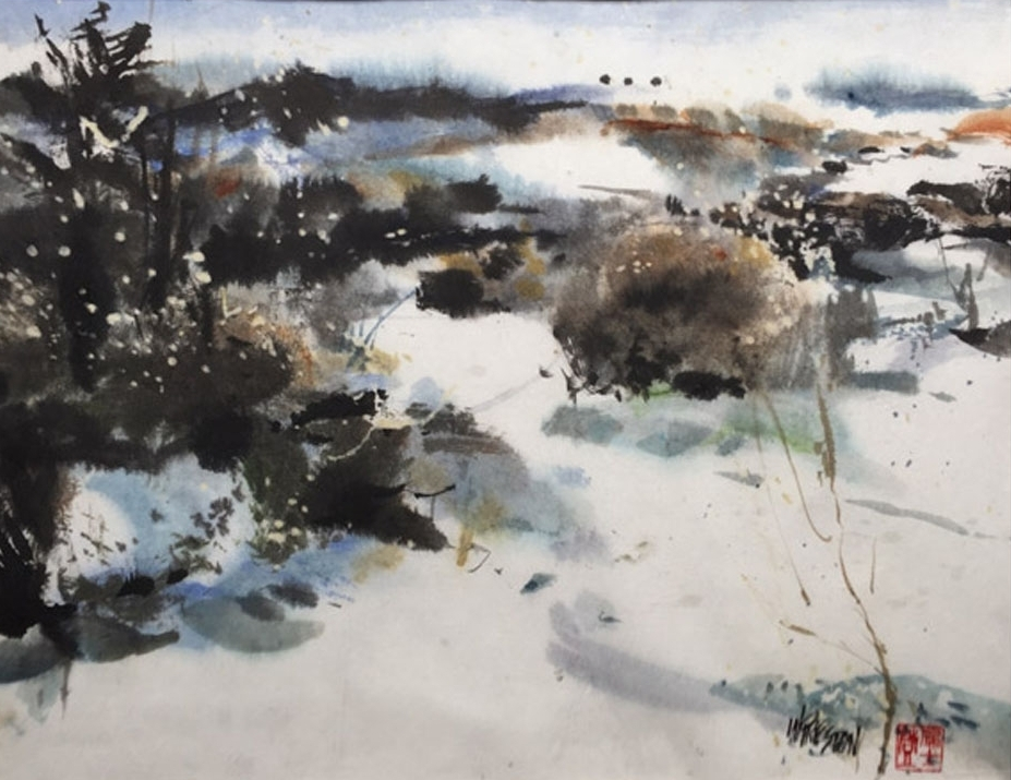 "Winter Snow - Sumi/WC- 13.5x17.5im -22x27""fr $850."