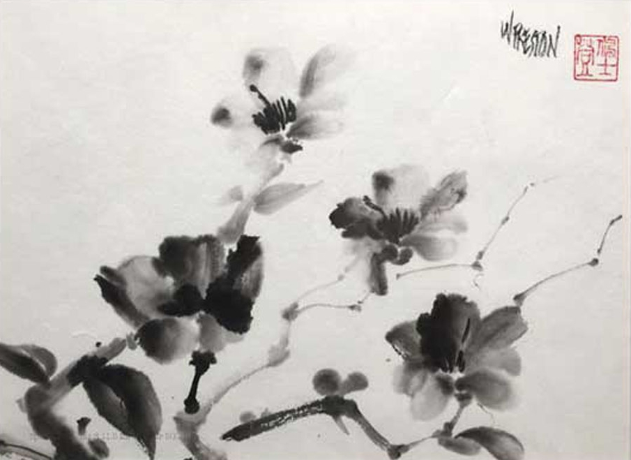 "Spring Blossoms - Sumi 8x11.5""im15x20""fr  $500."