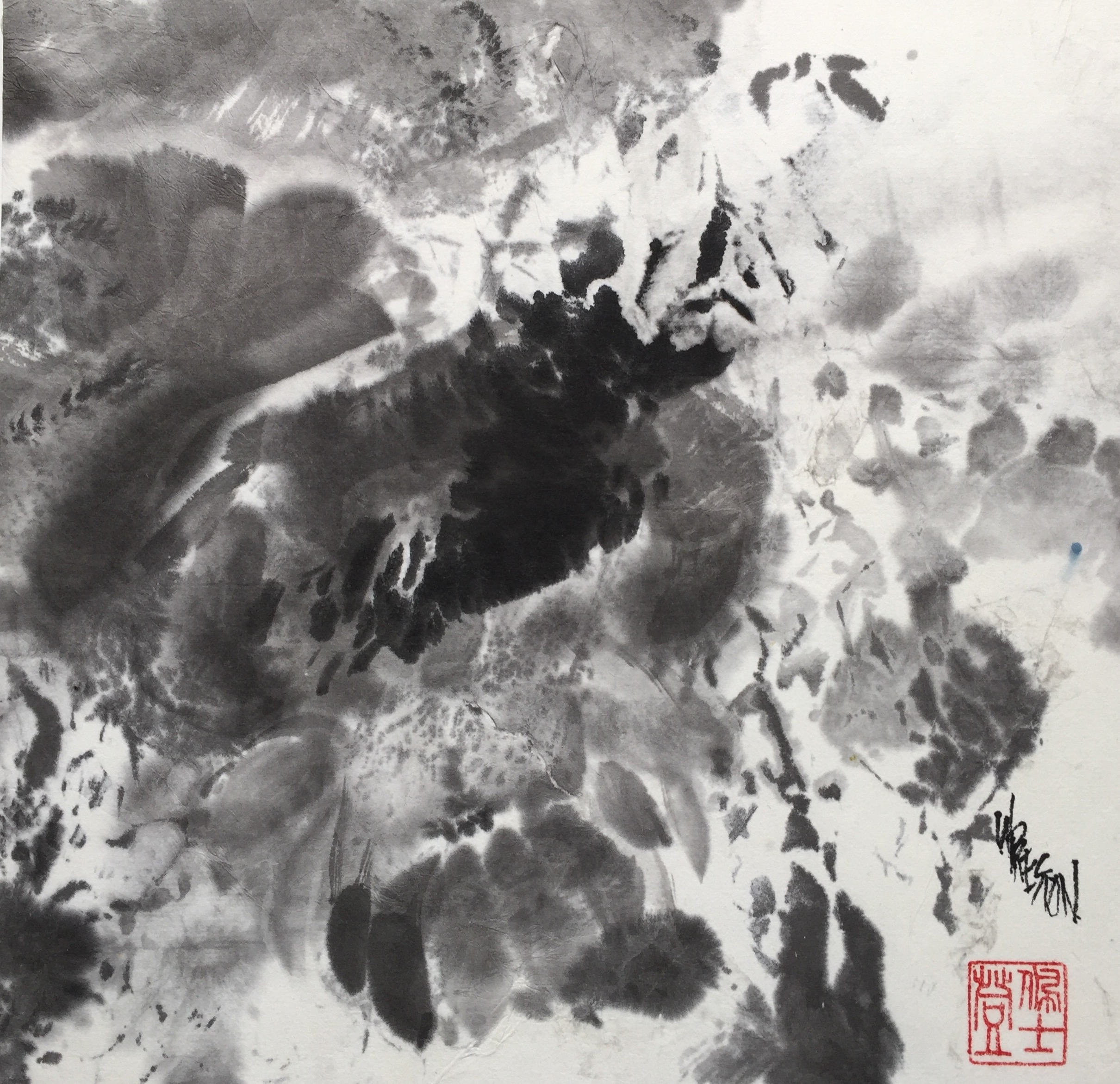 "Formless Form - Sumi 9.5x9""im $450."