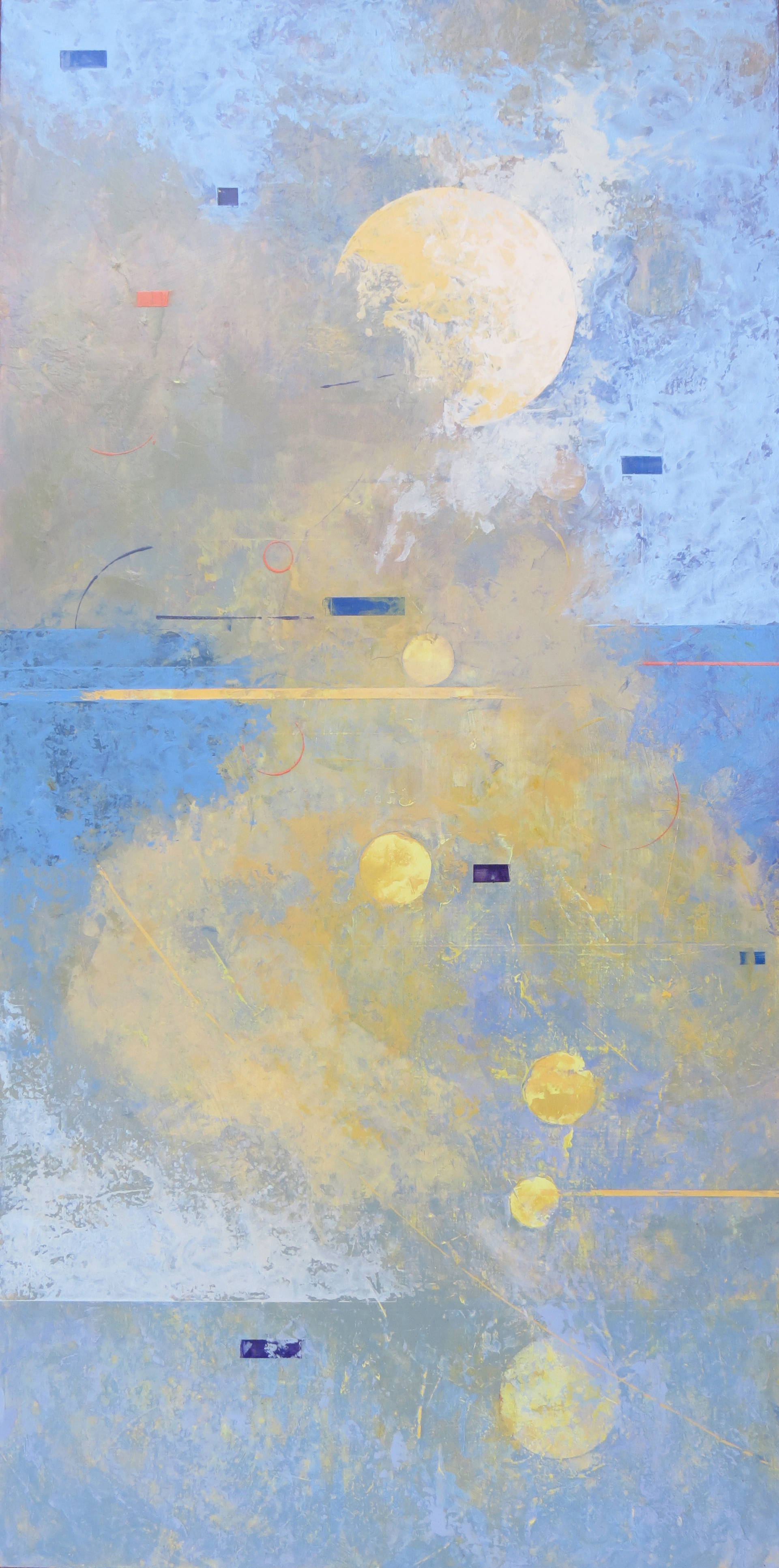 """FROM THE MYSTERY  Clouded, mysterious, the lower a quiet, bounded form. A light mist obscuring, gently stirring the confining, stretching away now into the distance. Glorious burst emerges into the light of momentary clarity.  40 x 20"""" 