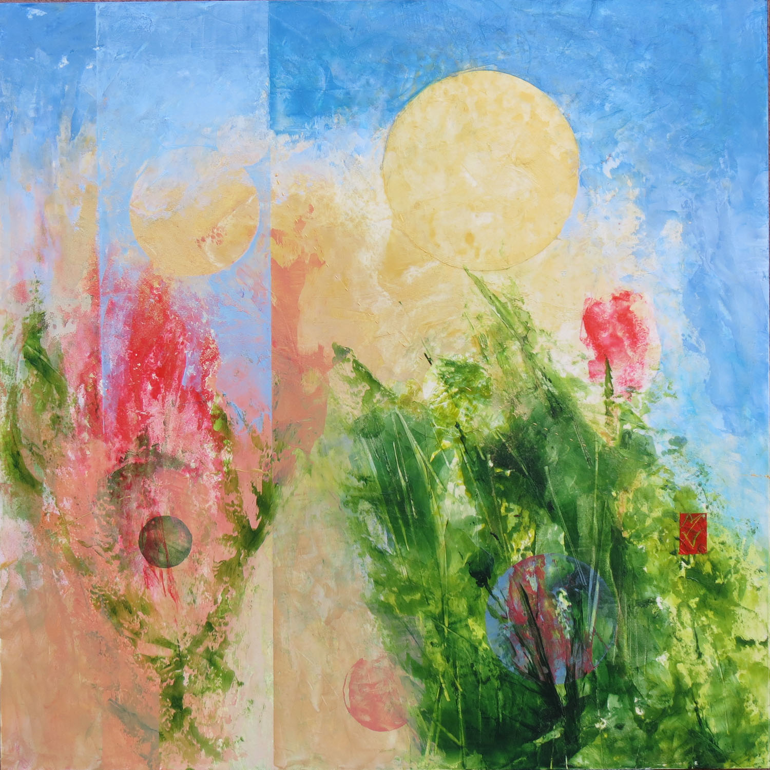 """SPRING 3   May and June in the garden - astonishing blooming!  24 x 24"""" 