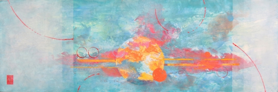 """PARALLEL UNIVERSE 2  Beyond the known may lie other worlds - imagining that is the artist's task - to create what is not known yet, in her imagination.  12 x 36"""" 