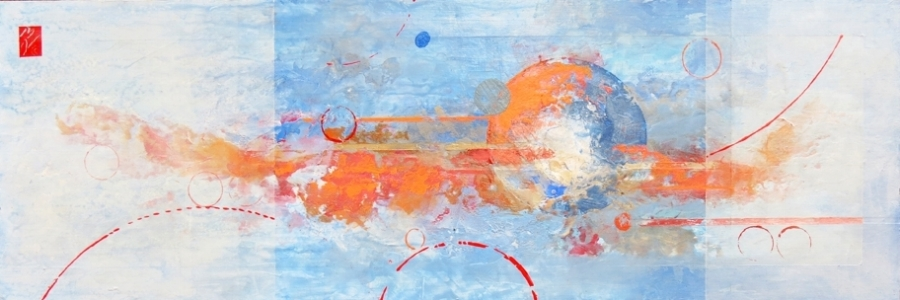 """PARALLEL UNIVERSE 1  Beyond the known may lie other worlds - imagining that is the artist's task - to create in her imagination what is not known yet.  12 x 36"""" 