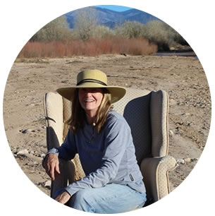 Marianne in the arroyo behind her studio in Jaconita, New Mexico.