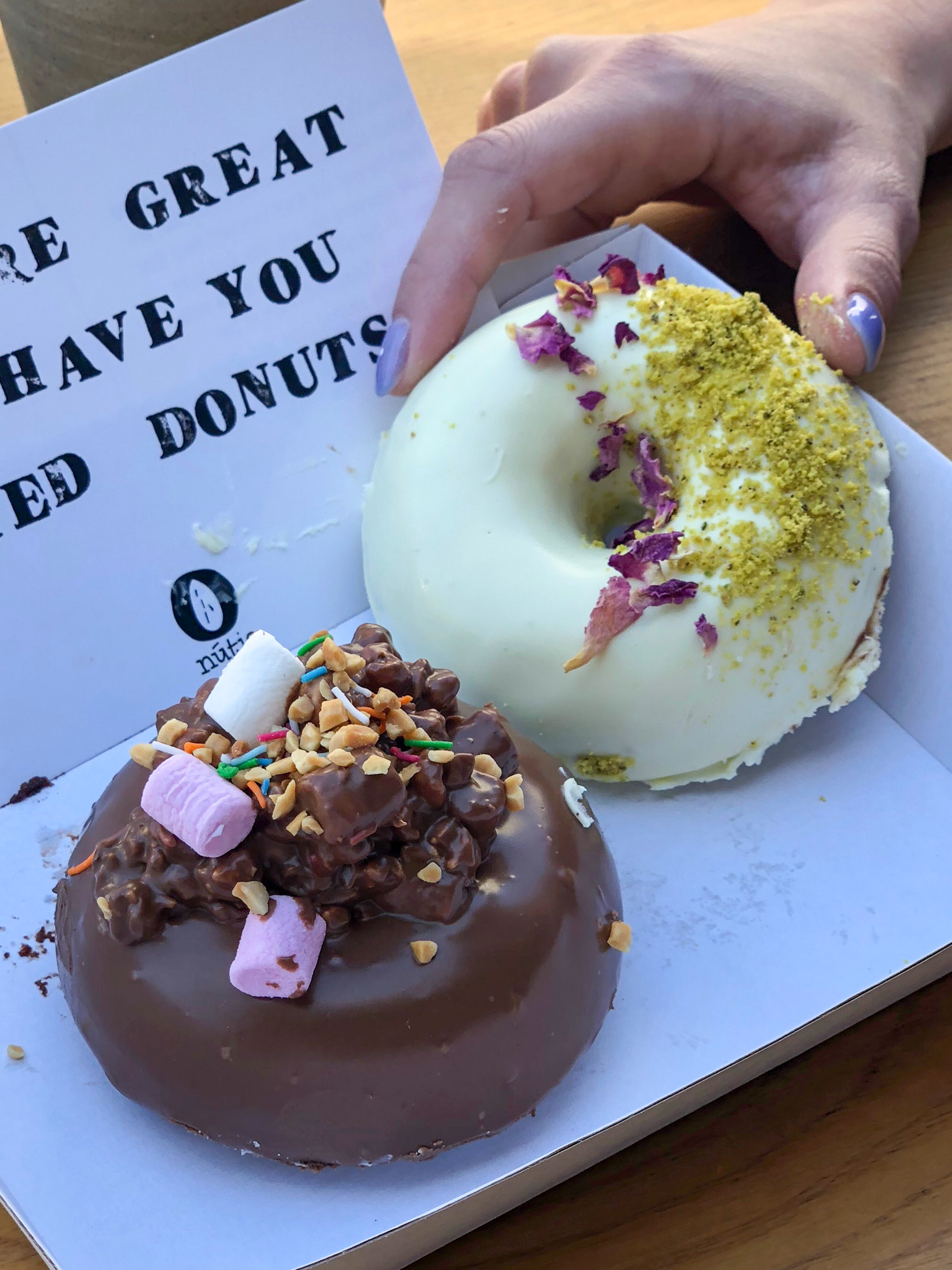 Rocky Road and Rose & Pistachio Donuts from Nutie