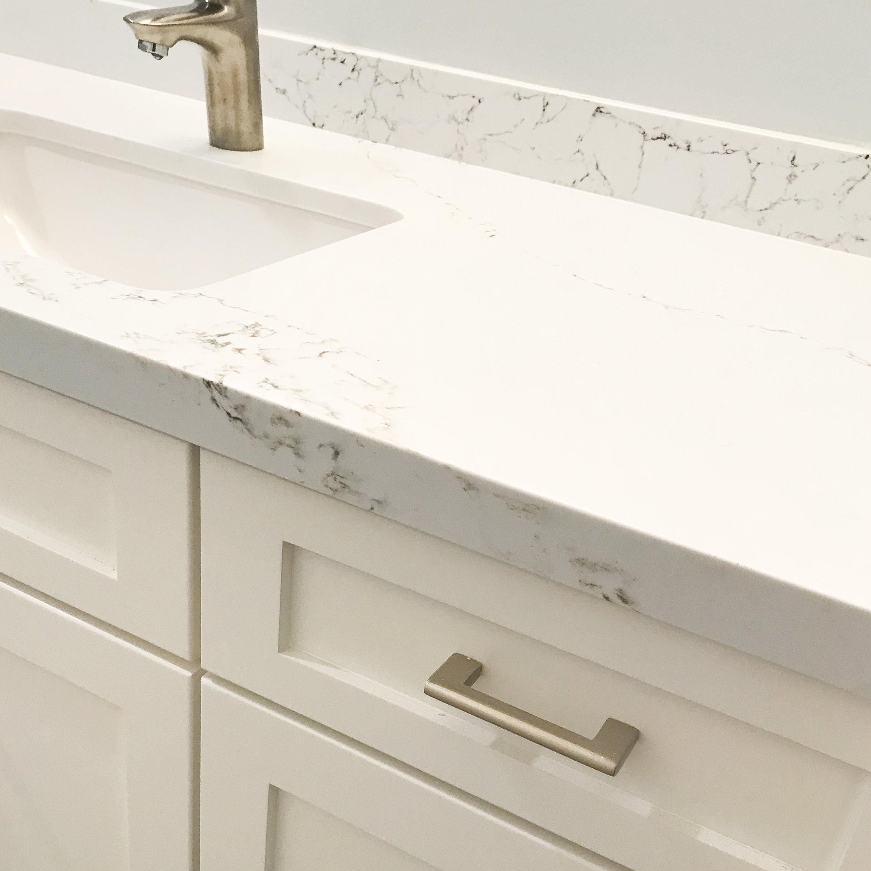 Quartz countertop on a vanity