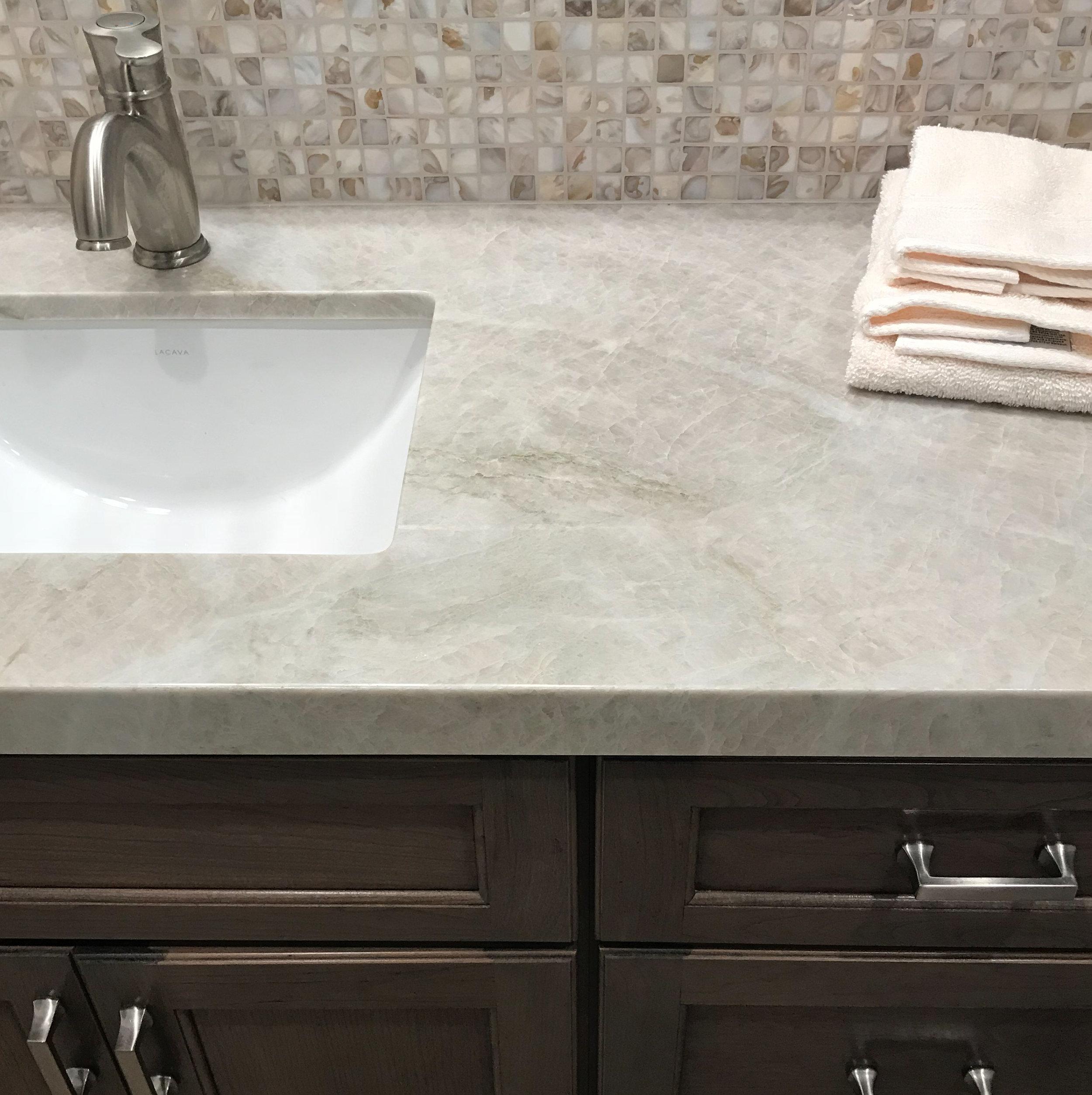 Quartzite countertop on a vanity