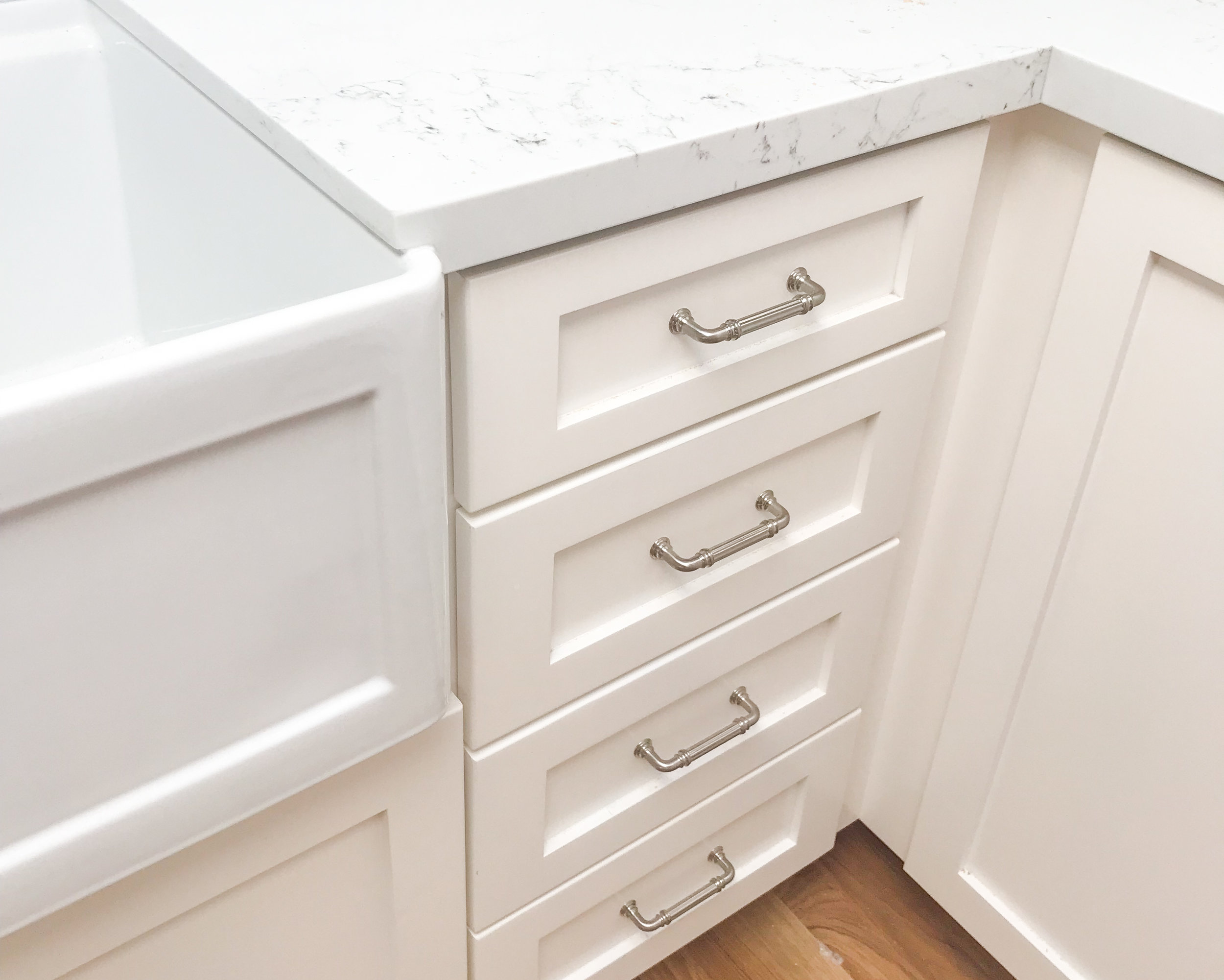 Plan ahead and talk to your contractor about the countertop detail at your apron front sink!