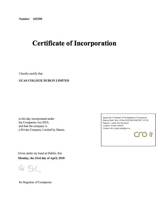 Certificate of Incorporation GCAS College Dublin