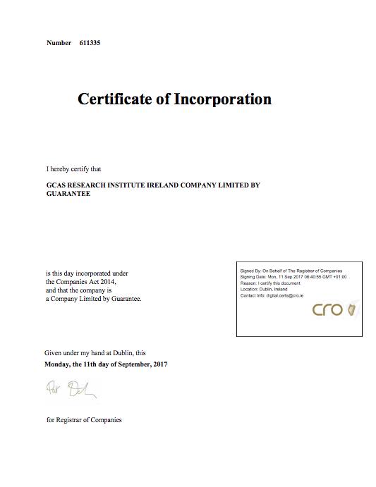 Certificate of Incorporation GCAS Research Institute Ireland